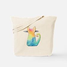 Watercolor Tie-Dye Cat Tote Bag