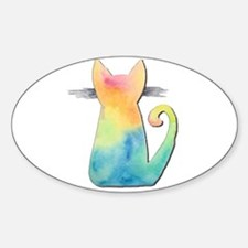 Watercolor Tie-Dye Cat Decal