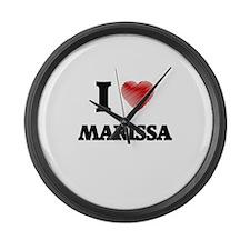 I Love Marissa Large Wall Clock