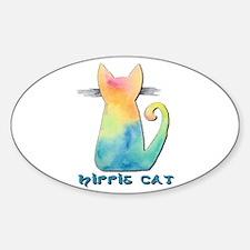 Hippie Tie-Dye Watercolor Cat Decal