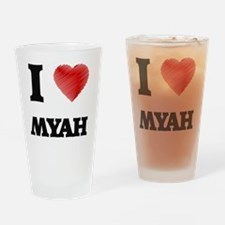 I Love Myah Drinking Glass