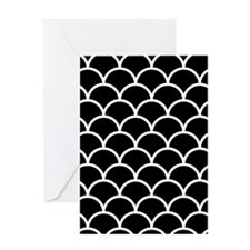 Black and White Scallop Pattern Greeting Cards