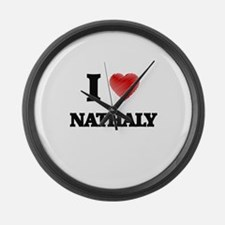 I Love Nathaly Large Wall Clock