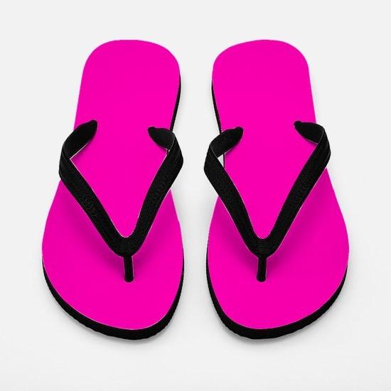 Neon Pink Solid Color Flip Flops