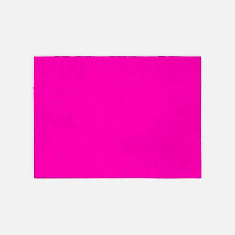 Neon Pink Solid Color 5'x7'Area Rug