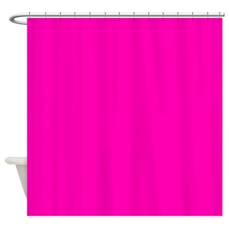 Neon pink solid color shower curtain by admin cp133666635 for Plain pink shower curtain