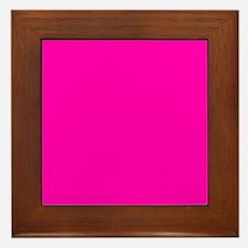 Neon Pink Solid Color Framed Tile