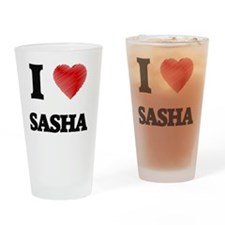 I Love Sasha Drinking Glass