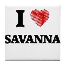 I Love Savanna Tile Coaster