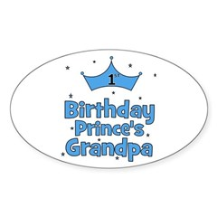 1st Birthday Prince's Grandpa Oval Decal
