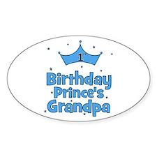 1st Birthday Prince's Grandpa Oval Decal