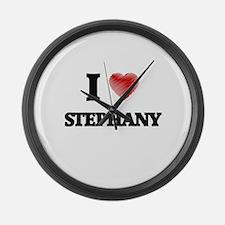 I Love Stephany Large Wall Clock