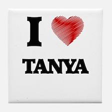 I Love Tanya Tile Coaster