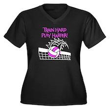 TRAIN HARD Women's Plus Size V-Neck Dark T-Shirt
