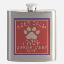 Keep Calm And Ginger tabby Cat Flask