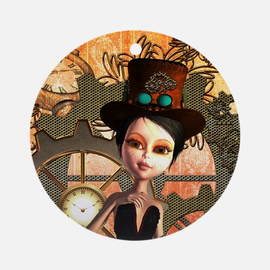 Cute girl with steampunk hat Round Ornament