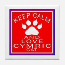 Keep Calm And Cymric Cat Tile Coaster