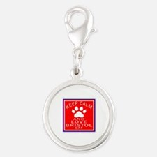 Keep Calm And Bristol Cat Silver Round Charm