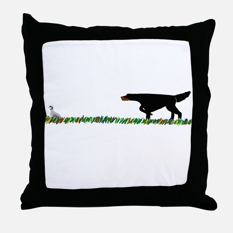 Gordon Setter in the Field II Throw Pillow