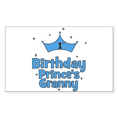 1st Birthday Prince's Granny! Sticker (Rectangular