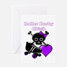 Roller Derby Chick (Purple) Greeting Cards