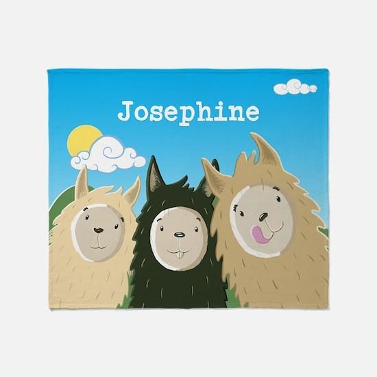 Personalised Three Wee Llamas Throw Blanket