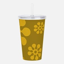 Retro Yellow Floral Pa Acrylic Double-wall Tumbler