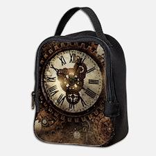 Vintage Steampunk Clocks Neoprene Lunch Bag