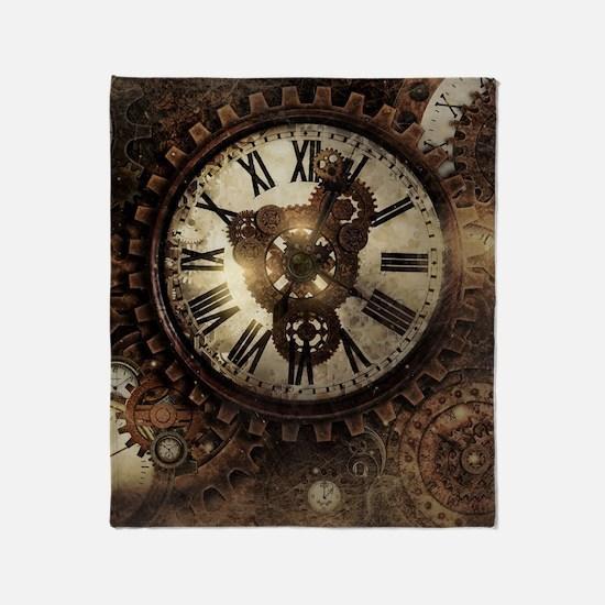 Vintage Steampunk Clocks Throw Blanket