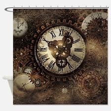 Vintage Steampunk Clocks Shower Curtain