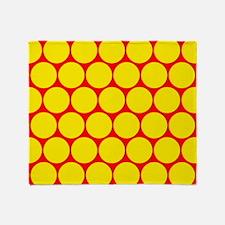 Yellow Red Polka Dot Pattern Throw Blanket