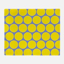 Blue With Yellow Polka Dot Pattern Throw Blanket