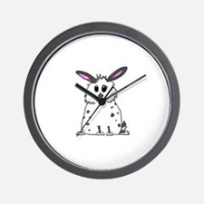 Black and White Fluffy chubby bunny des Wall Clock