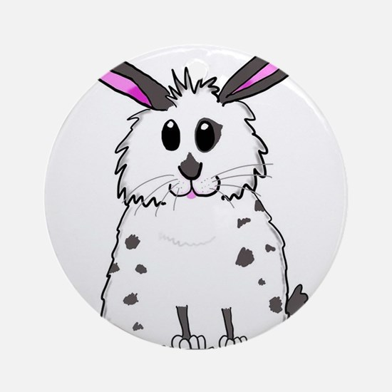 Black and White Fluffy chubby bunny Round Ornament