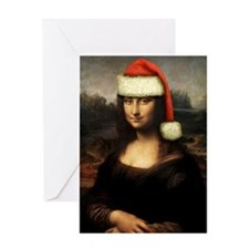 Mona Lisa Santa Greeting Card