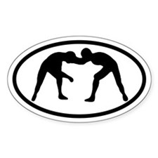 Wrestling Wrestlers Oval Decal