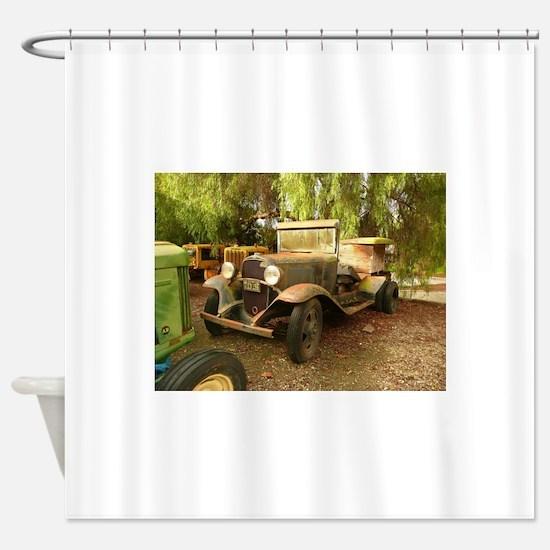 old car on farm Shower Curtain