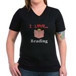 I Love Reading Women's V-Neck Dark T-Shirt