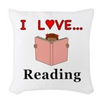 I Love Reading Woven Throw Pillow