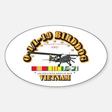 L19 Bird Dog w VN Svc Ribbons Sticker (Oval)
