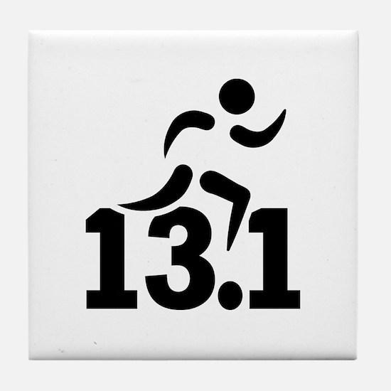 Half marathon runner Tile Coaster