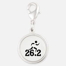 26.2 miles marathon Silver Round Charm