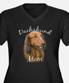 Dachshund Mom2 Women's Plus Size V-Neck Dark T-Shi