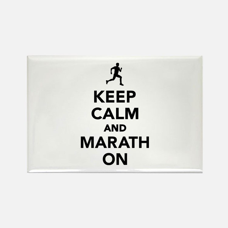 Keep calm and Marathon Rectangle Magnet (10 pack)