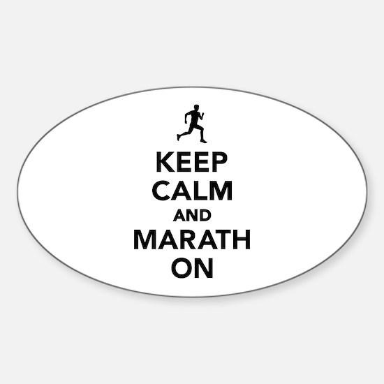 Keep calm and Marathon Sticker (Oval)