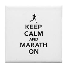 Keep calm and Marathon Tile Coaster