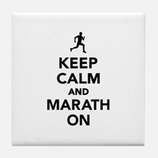 Keep calm and Marathon Tile Coaster