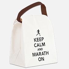 Keep calm and Marathon Canvas Lunch Bag