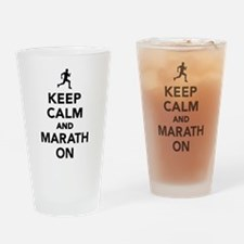 Keep calm and Marathon Drinking Glass