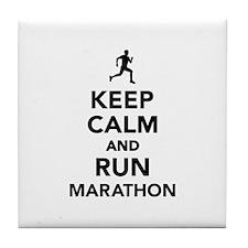 Keep calm and run Marathon Tile Coaster